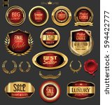 golden badges and labels with... | Shutterstock .eps vector #594422777