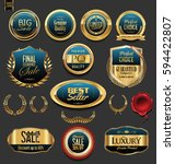 golden badges and labels with... | Shutterstock .eps vector #594422807