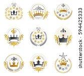 ancient crowns emblems set.... | Shutterstock .eps vector #594425333