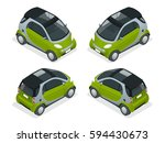 isometric hybrid car. city car... | Shutterstock .eps vector #594430673