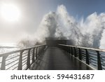 backwash on the great jetty of... | Shutterstock . vector #594431687