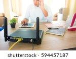 closeup of a wireless router... | Shutterstock . vector #594457187