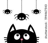 black cat face head silhouette... | Shutterstock .eps vector #594467543