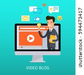 concept of video blogging. the... | Shutterstock .eps vector #594473417