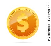 3d gold dollar coin isolated on ... | Shutterstock .eps vector #594490547