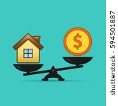 dollar and house scales icon.... | Shutterstock .eps vector #594501887