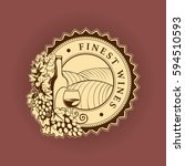 round label  patch  with wine... | Shutterstock .eps vector #594510593