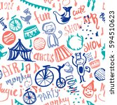hand drawn circus seamless... | Shutterstock .eps vector #594510623
