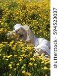 beautiful blond woman in a... | Shutterstock . vector #594523037