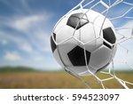 soccer ball in goal net with... | Shutterstock . vector #594523097