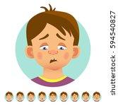 set of human emotions. facial... | Shutterstock .eps vector #594540827