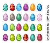 eggs easter set. spring.... | Shutterstock .eps vector #594550703