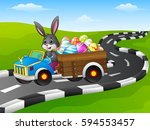 easter bunny driving a car... | Shutterstock . vector #594553457