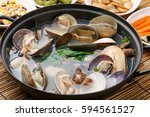 jogae tang is  scallop  clam  ... | Shutterstock . vector #594561527