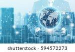 double exposure of success... | Shutterstock . vector #594572273