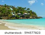 tropical beach at antigua... | Shutterstock . vector #594577823