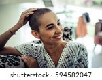portrait of a bald woman in a... | Shutterstock . vector #594582047