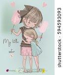 cute girls embrace | Shutterstock .eps vector #594593093