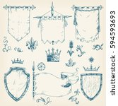 vector hand drawn collection of ... | Shutterstock .eps vector #594593693