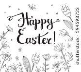 hand drawn vector happy easter... | Shutterstock .eps vector #594593723