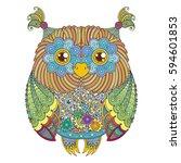 raster cute zentangle owl... | Shutterstock . vector #594601853