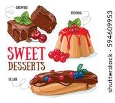set of vector desserts... | Shutterstock .eps vector #594609953