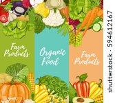 organic farm food flyers set... | Shutterstock .eps vector #594612167