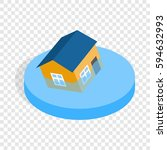 house sinking in a water... | Shutterstock .eps vector #594632993