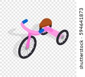 pink tricycle isometric icon 3d ... | Shutterstock .eps vector #594641873