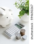 a money box and electronic... | Shutterstock . vector #594650267