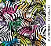 zebra with colorful silhouette... | Shutterstock .eps vector #594651767