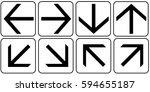 arrows set white. vector. | Shutterstock .eps vector #594655187