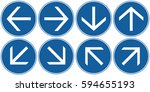 arrows set blue. vector. | Shutterstock .eps vector #594655193