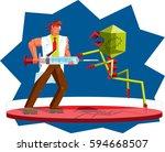 powerful science doctor... | Shutterstock .eps vector #594668507