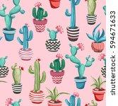 cacti flower background.... | Shutterstock .eps vector #594671633