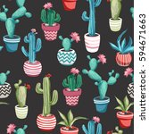 cacti flower background.... | Shutterstock .eps vector #594671663