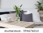 bedroom interior with small... | Shutterstock . vector #594676013