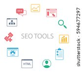 the circle of seo icons.... | Shutterstock .eps vector #594677297