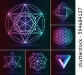 sacred geometry set. vector... | Shutterstock .eps vector #594684137