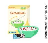 breakfast set   milk  cereal ... | Shutterstock .eps vector #594701537