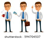 funny cartoon businessman... | Shutterstock .eps vector #594704537