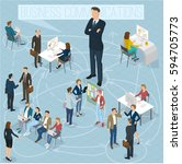 businesswoman big boss leader... | Shutterstock .eps vector #594705773