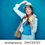 young woman ready for travel... | Shutterstock . vector #594735707