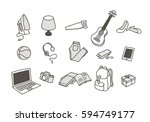 vector icons set with hand... | Shutterstock .eps vector #594749177