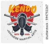kendo protective face mask and... | Shutterstock .eps vector #594752267