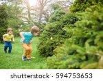 Kids On Easter Egg Hunt In...