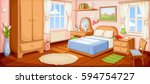 Vector illustration of a bedroom interior with a bed, nightstand, wardrobe and windows. | Shutterstock vector #594754727