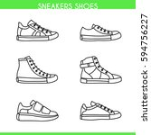 vector sneakers shoes  running  ... | Shutterstock .eps vector #594756227
