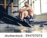 athletic shirtless male doing... | Shutterstock . vector #594757073