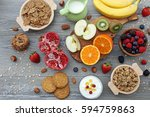 top view dietetic food... | Shutterstock . vector #594759863
